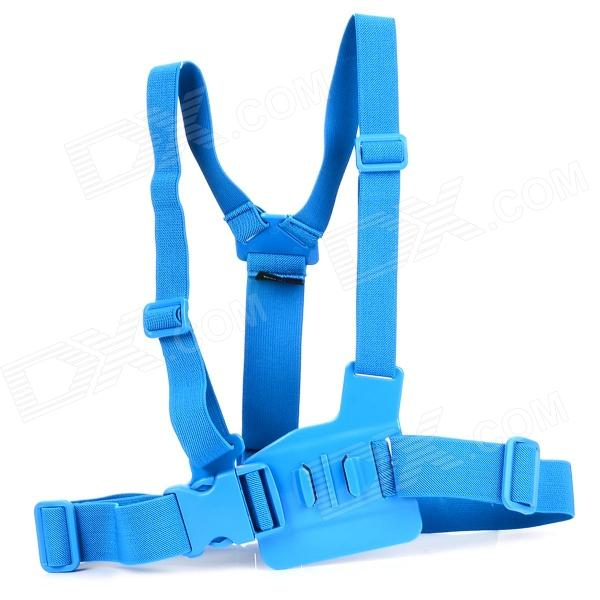 TMC Front Chest Elastic Belt Shoulder Strap Mount for Gopro Hero 4/2 / Hero3 / 3+ / SJ4000 - Blue gopro accessories head belt strap mount adjustable elastic for gopro hero 4 3 2 1 sjcam xiaomi yi camera vp202 free shipping