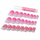 3D Gorgeous Design w/ Artificial Crystal Decorative Nail Tips - Pink + Silver (24 PCS)
