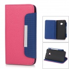 Buy Lychee Pattern Protective PU Leather Case HTC One M7 - Deep Pink + Blue Black