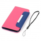 Lychee Pattern Protective PU Leather Case for HTC One M7 - Deep Pink + Blue + Black