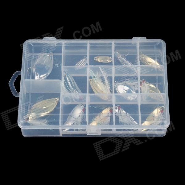 YuDiaoXuan Lifelike Fish Style Fishing Bait Set w/ Carrying Box - Silver + Golden (14PCS)