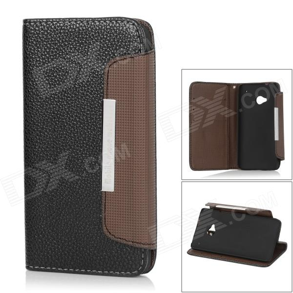 Protective PU Leather Case for HTC One M7 - Black + Brown genuine leather protective flip open case for htc one m7 black