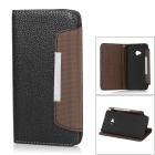 Protective PU Leather Case for HTC One M7 - Black + Brown