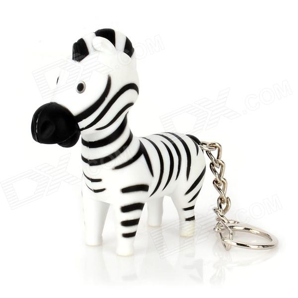 Cute Fun Zebra Style Plastic Pendant Keychain w/ LED Light & Neigh - Black + White (3 x LR1130) cute frog style two white led flashing light keychain w sound effect pink 3 x lr1130