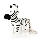 Cute Fun Zebra Style Plastic Pendant Keychain w/ LED Light & Neigh - Black + White (3 x LR1130)