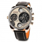 Fashion Hip-Hop Style Oversize Dual Dial Men's Quartz Wrist Watch - Silver + Black (2 x SR625SW)