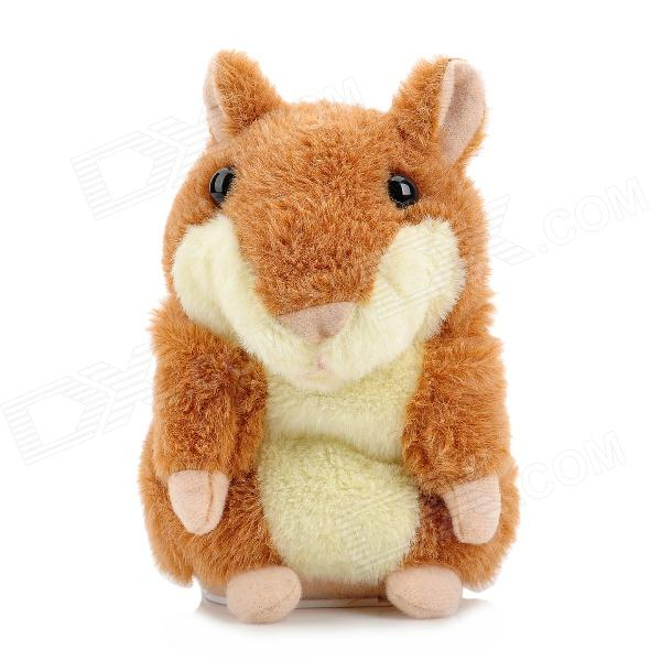 YSDX-812 Video Version Mimicry Pet Talking Hamster Plush Toy for Kids - Brown + Light Yellow + Pink ysdx 811 video version mimicry pet talking hamster plush toy for kids grey light yellow pink