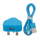 2-in-1 USB Power Adapter UK Plug w/ USB Male to 8 Pin Lightning Data Cable for iPhone 5 - Blue