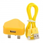 USB Power Adapter UK-Stecker + USB-Stecker auf 8-Pin Blitz-Datenkabel für iPhone 5 + More - Gelb