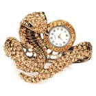 Snake Shaped Retro Zinc Alloy Shiny Rhinestone Bracelet Quartz Wrist Watch - Golden (1 x 377)
