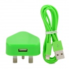 2-in-1 USB Power Adapter UK Plug w/ USB Male to 8 Pin Lightning Data Cable for iPhone 5 - Green
