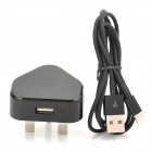 2-in-1 USB Power Adapter UK Plug w/ USB Male to 8 Pin Lightning Data Cable for iPhone 5 - Black