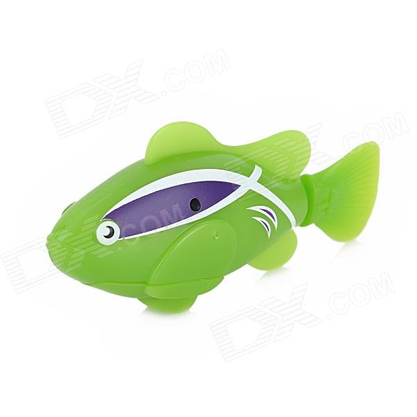 ROBO FISH Electric Water Activated Magical Fish Toy - Green + White + Purple (2 x L1154) flash transparent electronic fish pet toy robot fish pink purple 2 x l1154