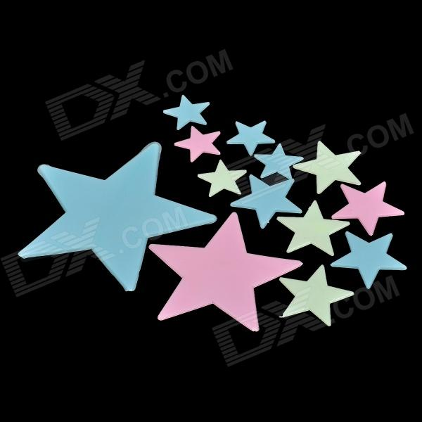 12-in-1 Glow-in-the-Dark Plastic Star Style Sticker - Fluorescent Green + Blue + Pink 12 in 1 glow in the dark plastic snowflakes style sticker for room decoration fluorescent green
