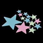 12-in-1 Glow-in-the-Dark Plastic Star Style Sticker - Fluorescent Green + Blue + Pink
