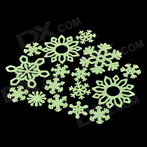 12-in-1 Glow-in-the-Dark Plastic Snowflakes Style Sticker for Room Decoration - Fluorescent Green - DXLifestyle Gadgets<br>Brand NO Model No Quantity 1 piece(s) per pack Color Fluorescent green Material PVC Specification More light absorbed at the daytime more bright sticker at night; Sticker be shined by the device with 220V voltage it glows for 8 hours Other Feature 12pcs different shape sticker can be used again and again; With white glue stick can stick to the bedroom furniture etc also can be car decoration Packing List 12 x Stickers 1 x Glue stick<br>
