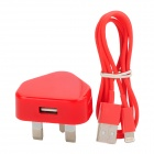 2-in-1 USB Power Adapter UK Plug w/ USB Male to 8 Pin Lightning Data Cable for iPhone 5 - Red