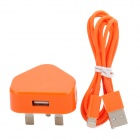 2-in-1 USB Power Adapter UK Plug w/ USB Male to 8 Pin Lightning Data Cable for iPhone 5 - Orange