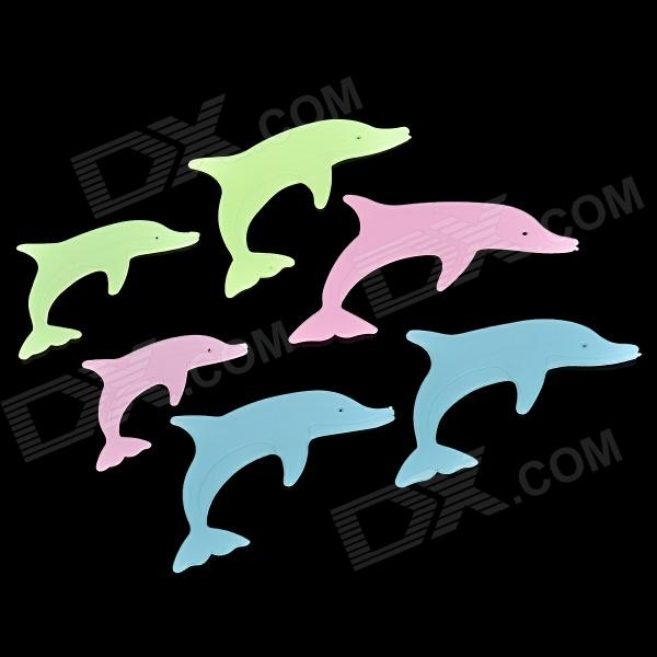 6-in-1 Glow-in-the-Dark Plastic Dolphin Style Sticker - Fluorescent Green + Blue + Pink