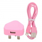 2-in-1 USB Power Adapter UK Plug w/ USB Male to 8 Pin Lightning Data Cable for iPhone 5 - Pink