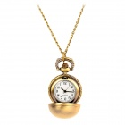Round Ball Style Zinc Alloy Analog Quartz Pocket Watch Necklace - Bronze