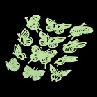 12-in-1 Glow-in-the-Dark Plastic Butterfly Style Sticker for Room Decoration - Fluorescent Green