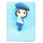 Cartoon Girl Pattern Protective PU Leather Case for iPad Mini - Blue
