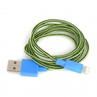 Stylish USB Male to 8 Pin Lightning Nylon Charging Data Cable - Green + Black + Blue (100 CM)