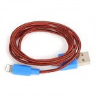 Stylish USB Male to 8 Pin Lightning Nylon Charging Data Cable - Red + Black + Blue (100 CM)
