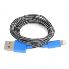 Stylish USB Male to 8 Pin Lightning Nylon Charging Data Cable - White + Black + Blue (100 CM)