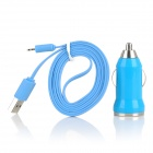 Car Cigarette Powered Charger w/ USB Flat Charging Cable for iPhone 5 + iPad 4 + iPad Mini - Blue