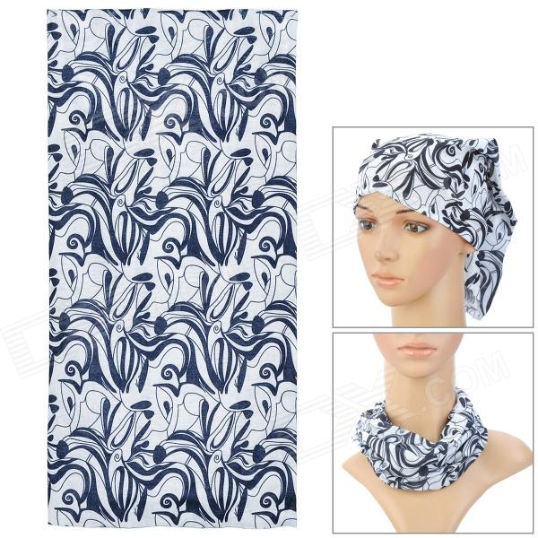 Multifunction Outdoor Cycling Polyester Seamless Head Scarf for Men - Black + White