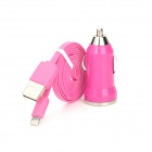 Car Cigarette Charger w/ 8 pin Lightning Male to USB Male Flat Data Cable for iPhone 5 - Deep Pink