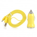 Car Cigarette Powered Charger w/ USB Flat Charging Cable for iPhone 5 + iPad 4 + iPad Mini - Yellow