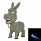Cute Donkey Style LED White Light Keychain w/ Sound - Grey (3 x AG10)