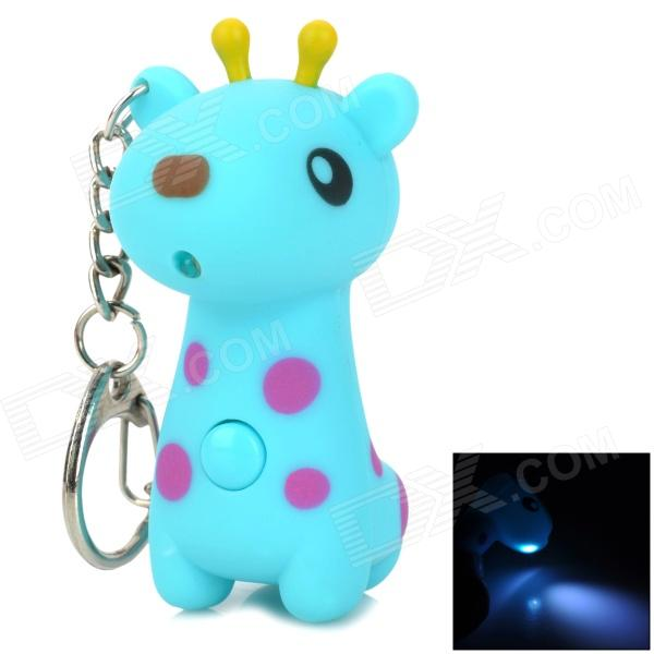 Cute Giraffe Style LED White Light Keychain w/ Sound - Blue (3 x AG10) cute hippo style plastic key chain w led white light green 3 x ag10