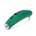 Cucumber Shape Hand Crank 1-LED White Light Flashlight w/ Emergency Hammer + Cutting Blade - Green