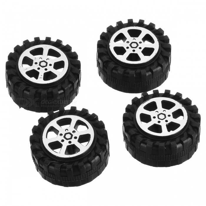 CL-4 DIY 42mm plástico Toy Car Ruedas Accesorios Modelo - Negro