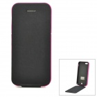 Portable 3200mAh External Battery PU Leather Flip-Open Case for iPhone 5 - Deep Pink + Black