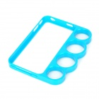 Finger Buckle Knuckle Style Protective Plastic Bumper Frame for Iphone 4 / 4S - Sky Blue