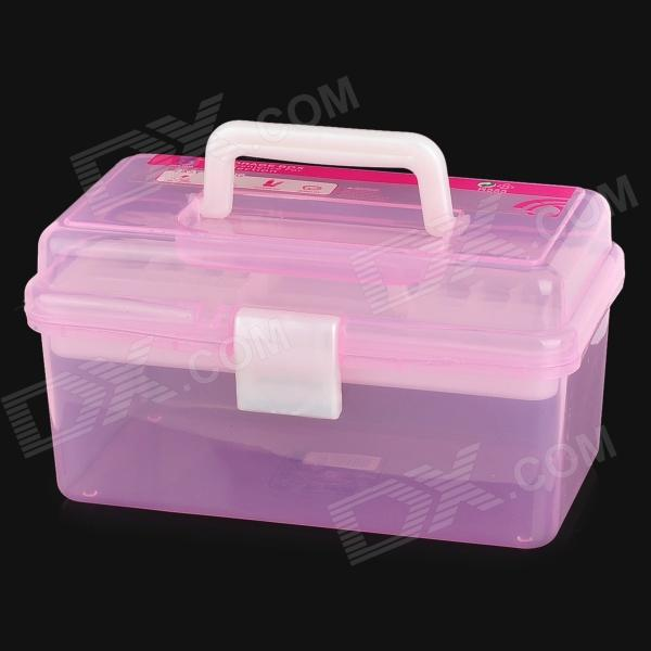 JIAN HUA R555 Double Layer Plastic Carrying Storage Box Nail Art Tool Cosmetic Box - Pink free shipping wooden tool box desk storage drawer debris cosmetic storage box bin jewelry case office creative gift home