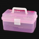 JIAN HUA  R555 Double Layer Plastic Carrying Storage Box Nail Art Tool Cosmetic Box - Pink