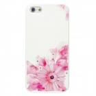 IPSKY Rhinestone Relief Painted Chrysanthemum Pattern Protective PC Back Case for Iphone 5 / 5s - White