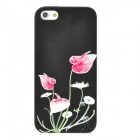 IPSKY Rhinestone Relief Morning Glory Pattern Protective PC Back Case for Iphone 5 / 5s - Black