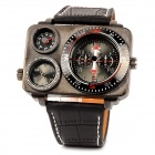 Fashion Hip-Hop Style Oversize Dual Dial Men's Quartz Wrist Watch - Black (2 x SR625SW)