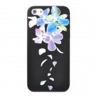 IPSKY Rhinestone Relief Painted Flowers Pattern Protective Plastic Back Case for Iphone 5 / 5s - Black