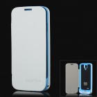 4200mAh External Back Case Battery w/ PU Leather Cover Protector for Samsung Galaxy S4 i9500 - White