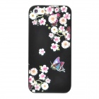 IPSKY Rhinestone Relief Painted Flowers Pattern Protective PC Back Case for Iphone 5 - Black