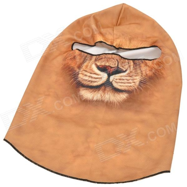 BB06 Multi-Functional Cool Lion Pattern Outdoor Windproof Neck Warmer Mask Scarf / Hat - Yellow