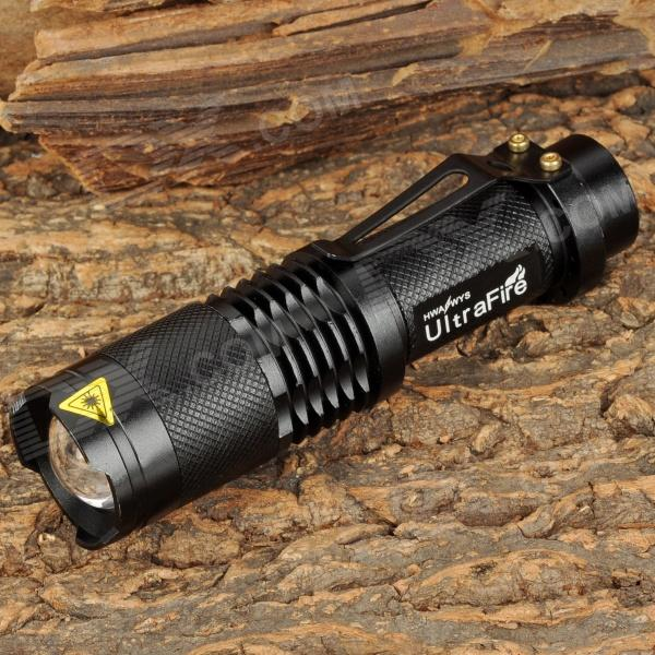 UItraFire SK-98 600lm 3-Mode White Zooming Flashlight w/ Cree XM-L U2 - Black (1 x 18650)